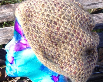 Hand Knit Slouchy Hat Alpaca and Wool
