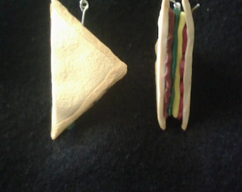 Meat and salad polymer clay sheppard hook earrings