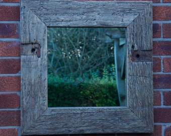 Square Reclaimed Wood Mirror