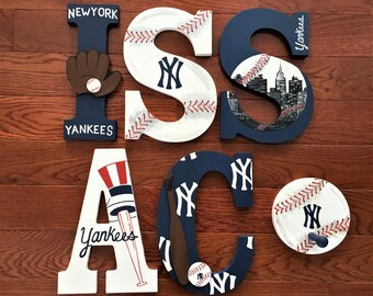 Custom Hand-Painted NEW YORK YANKEES Letters Baseball Team Nyc Mlb World Series Champions Personalized Wood Name... Priced per letter
