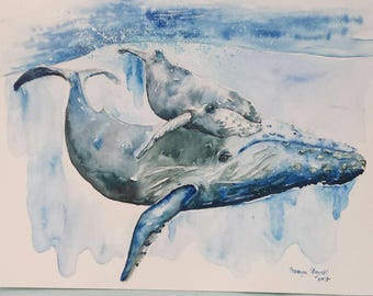 Mama and Baby blue whale, whale nursery, whale art, blue whale watercolor painting, aquatic painting, blue whale painting, beach art