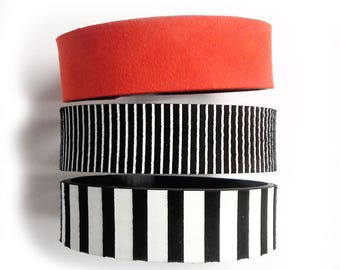 Leather bracelet cuff set black and white red