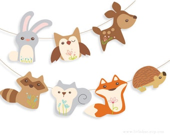 DIY Printable Woodland Animals Banner Set 1 PDF digital download Scrapbook clipart Baby Shower Party Decorations