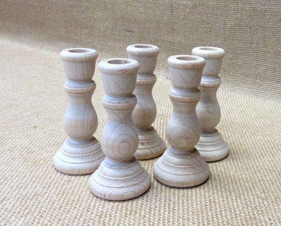 """Wooden Candlesticks  3"""" Tall Lot Of 5"""