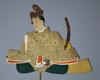 1800's Antique Oshie Japanese Silk Kimono Doll Seated Samurai Oshi-e Okiage Ningyo 28