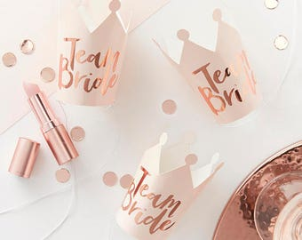 Pink and Rose Gold Foiled Team Bride Party Crowns, Bachelorette Crowns, Bachelorette party, hen party, bacherlorette hats, hen party hats