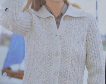 PDF  womens aran cable cardigan jacket sizes 32 to 42 inches vintage knitting pattern pdf INSTANT download sweater pattern only pdf 1970s