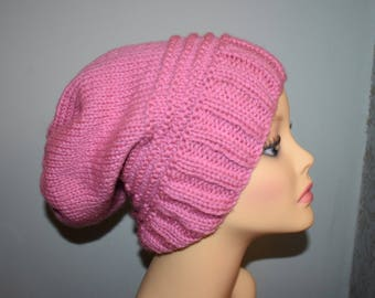 Dusky pink chunky knitted slouch hat