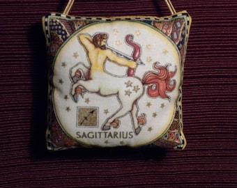Zodiac Sagittarius Dark Blue Fabric Astrology Astrological Pillow Hanger Ornament