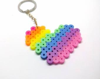 Rainbow Heart Perler Keychain - Brass - Keychain