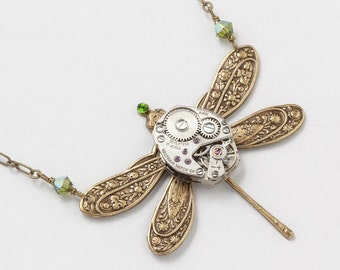 Steampunk Necklace vintage silver watch movement Victorian gold dragonfly pendant green crystal statement necklace Steampunk Jewelry