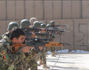 Poster, Many Sizes Available; Afghan National Army And Us Marines Training