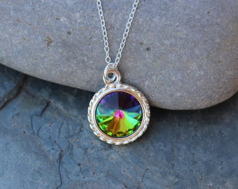 Northern Lights Swarovski rivoli crystal & silver necklace - color changing crystal, delicate sterling silver chain Free shipping USA
