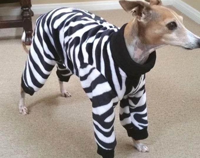 """Dog Pajamas. """"Le Zebra Jumper"""" - Italian Greyhound and small dog sizes"""