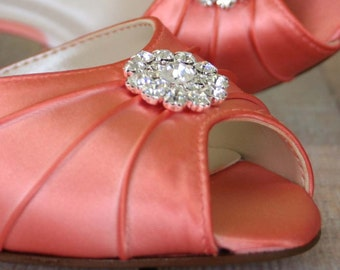 Orange Coral Wedding Shoes / Bling Bridal Shoes / Crystal Peeptoes / Coral Shoes / Bride on Budget Wedding Shoes