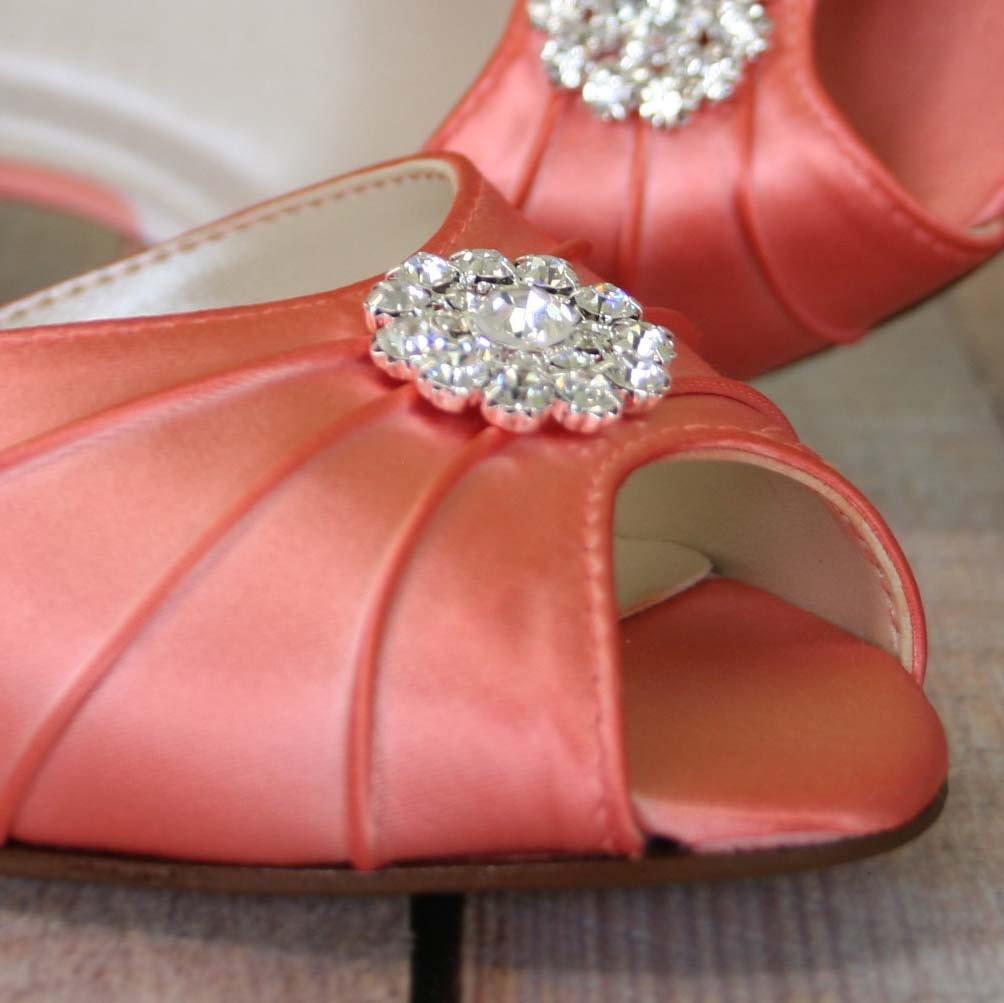 Orange Coral Wedding Shoes Bling Bridal Crystal