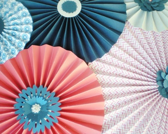 Coral navy paper rosettes for pinwheel backdrop for wedding, shower, birthday etc. with rhinestone and flower centers