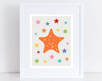 starfish print - nursery art - colourful kids sea ocean beach themed nursery decor children baby girl boy gender neutral - rainbow bright