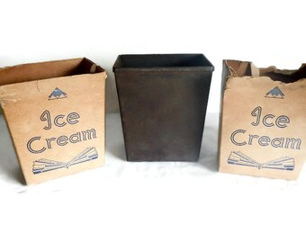 Vintage Quart Paper Ice Cream Box & Metal Form Mold - Bloomer Bros, dairy, advertising, kitchen decor, retro,Art Deco,general store,ephemera
