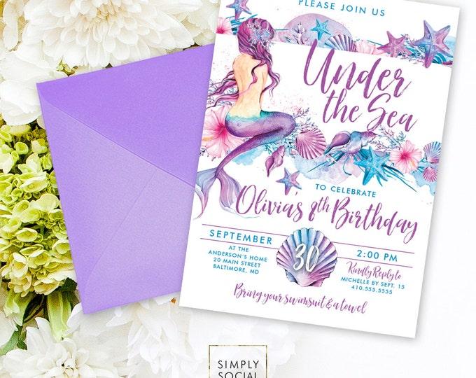 Mermaid Birthday Party Invitation - Under the Sea Seashell Starfish Coral Boho Beach Birthday Invitation Purple and Aqua Swimming Party