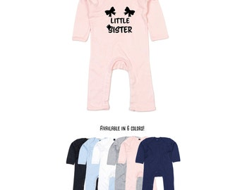 Baby little sister bodysuit, little sister romper, pregnancy announcement bodysuit, girl sibling romper, baby announcement, baby shower gift