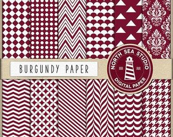 Burgundy Digital Paper Pack | Scrapbook Paper | Printable Backgrounds | 12 JPG, 300dpi Files | BUY5FOR8