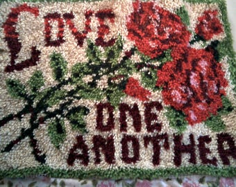 LOVE ONE ANOTHER Latch Hook Rug Finished Beautiful Rug Ready To Hang Bible Verse Love One Another Surrounded by gorgeous Roses Very Rare Rug