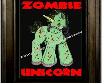 Zombie Unicorn Art Print 8 x 10 - Pop Surrealism Psychobilly Goth Horror Kawaii