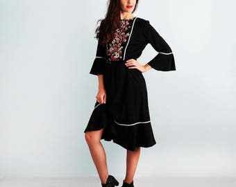 Black  dress  3/4 sleeves Flower dress Casual dress Black cocktail dress Long sleeve dress Boho dress Boho style Flounced dress