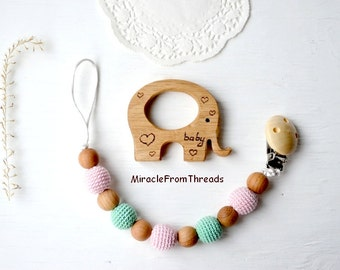 Dummy clip, wooden teether elephant, Pacifier chain teething toy, Wood elephant teether, Pacifier chain,Beaded pacifier clip,holder with toy