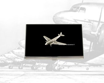 Airplane Business Card Case Inlaid in Hand Painted Black Enamel Metal Wallet Jumbo Jet Metal Wallet Custom Colors and Personalized Options