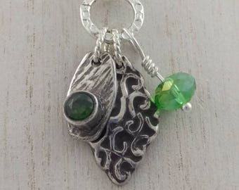 Silver and Green CZ Pendant
