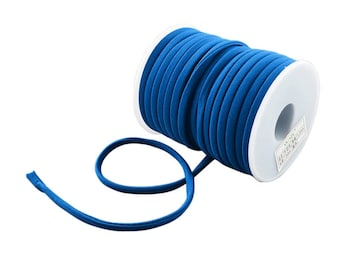 2 Meters Stitched Navy Blue Nylon Lycra Cord, Spandex Cord, Stretchy Nylon Lycra String, Elastic Cord 5 mm Sold in 2 & 5 meter Lengths