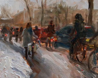 """small oil painting, """"Struggling through the snow"""", oil on panel, 6x6 inch, Delft"""