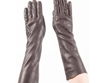 Vintage long chocolate brown leather gloves / Buttery soft elbow length / Medium M