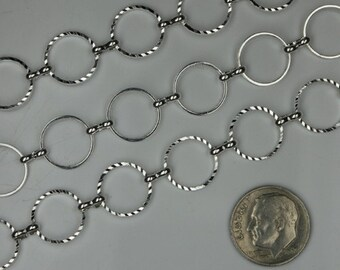 5ft of Silver plated brass circle quick links chain - 12mm (diamond cut)