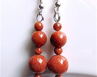 Goldstone dangle earrings, glorious Goldstones for pierced ears.