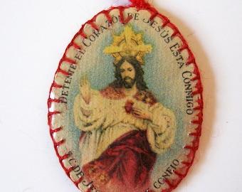 Antique Spanish Reliquary Agnus Dei Lamb of God Caritas Virtue Charity Dente 1940s