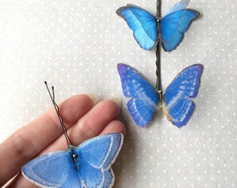 Handmade Butterfly Hair Bobby Pins in Turquoise Cotton and Silk Organza Fabric - 3 pieces