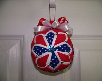 Red, white and blue Quilted Ornament
