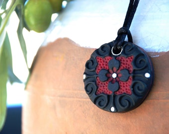 Deep Maroon - Hand Sculpted Mosaic Clay Pendant Necklace with Silk Cord and Argentium Clasp