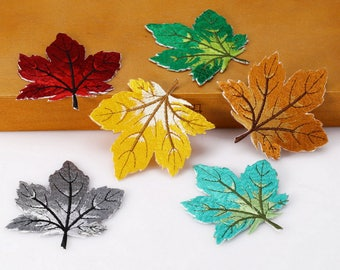 Fallen Leaves - Embroidery Trim with Glue - 6 colors for choice