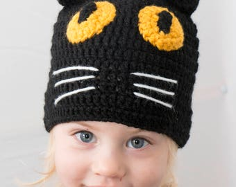 Crochet Baby Hat, Black Cat Beanie, Toddler Hat, Adult Beanie, Black cat, Animal Hat, Handmade Hat, Toddler Beanie
