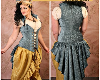 Waist 30 to 32 Brush Stroke Peplum Ruffle Courtier Corset