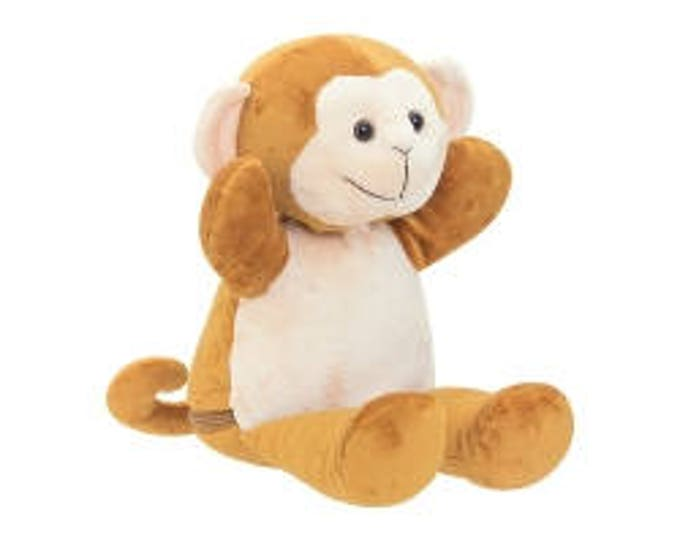 Personalized Cuddly Monkey Personalized Plush Toy, Stuffed Animal for Boy or Girl