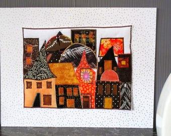 Art print textile houses orange and Brown