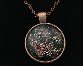 Copper and Multicolored Glitter Glass Pendant Necklace 017