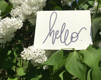 Hello card, greeting card, card, handmade card, just because, thinking of you