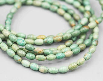 "Natural Turquoise Rice Beads 6x4mm 67 Beads on 16"" Strand SKU-TUR-20"