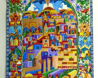 Egg Tempera on Paper, Jerusalem Gate,  Gouache, Parchment  Gift, Bible Stories, Original painting, Art Collectibles, Handmade Painting